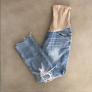 Indigo blue distressed boyfriend maternity jeans